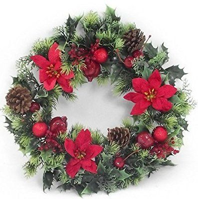 16 Inch Artificial Plastic Red Poinsettia Holly Christmas Wreath For Indoors And Outdoors
