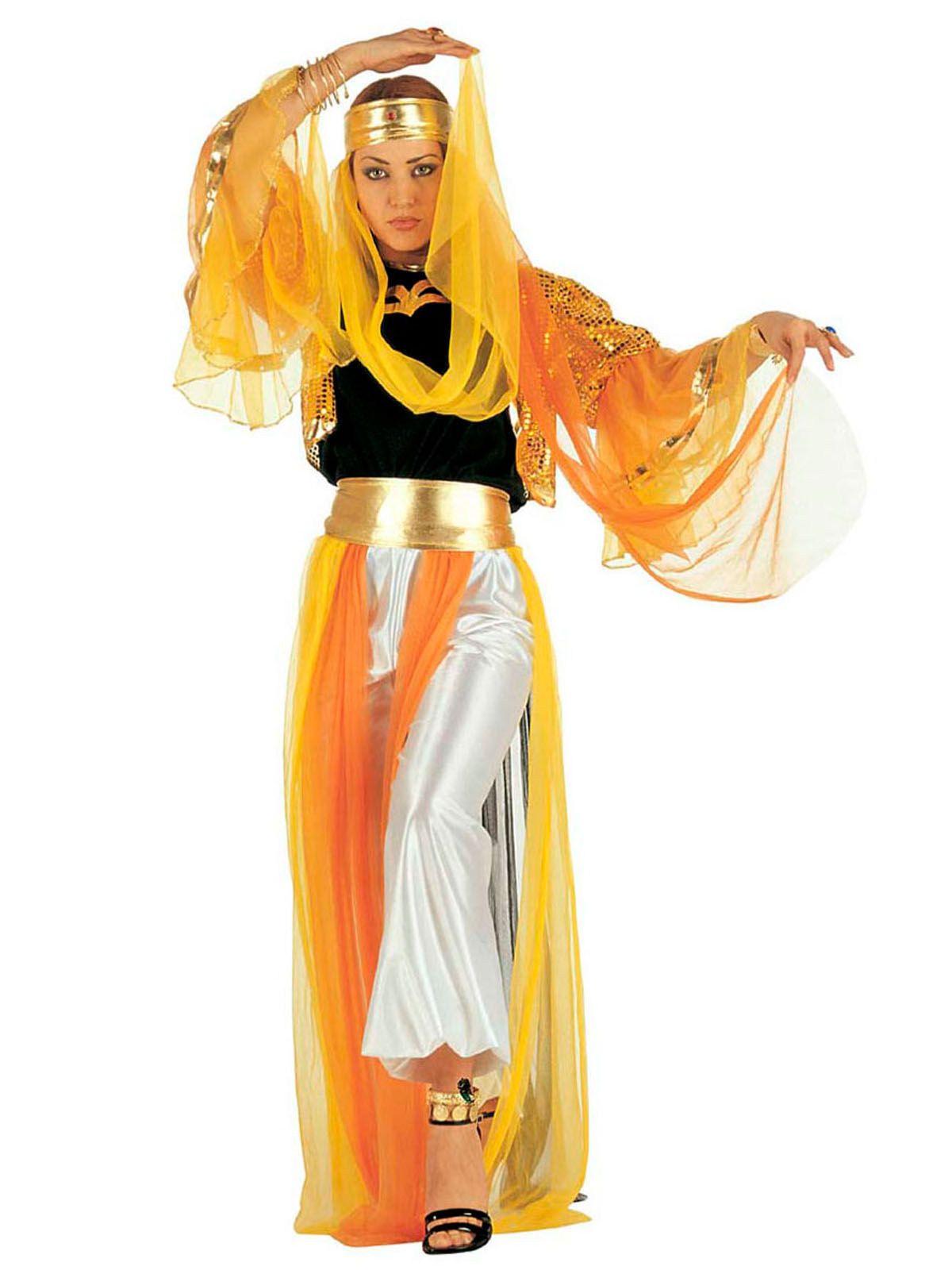 Orientalische Bauchtänzerin Damenkostüm Harem gelb orange silber