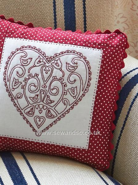 Buy Redwork Heart Cushion Sewing Pattern - DOWNLOAD ONLY Online at ...