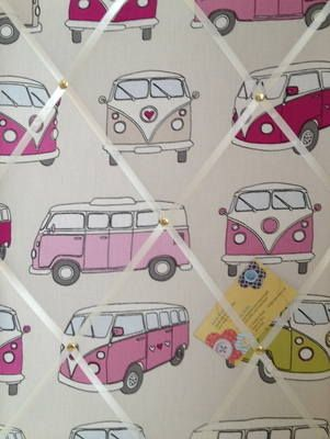Medium Fryetts Pink Campervan Hand Crafted Fabric Notice  Memory