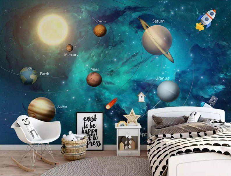 3D Cartoon Solar System Universe Wall Mural Wallpaper Bedroom Nursery School