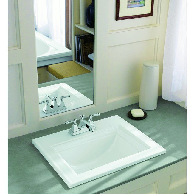 KOHLER Memoirs White Drop-In Rectangular Bathroom Sink with Overflow ...