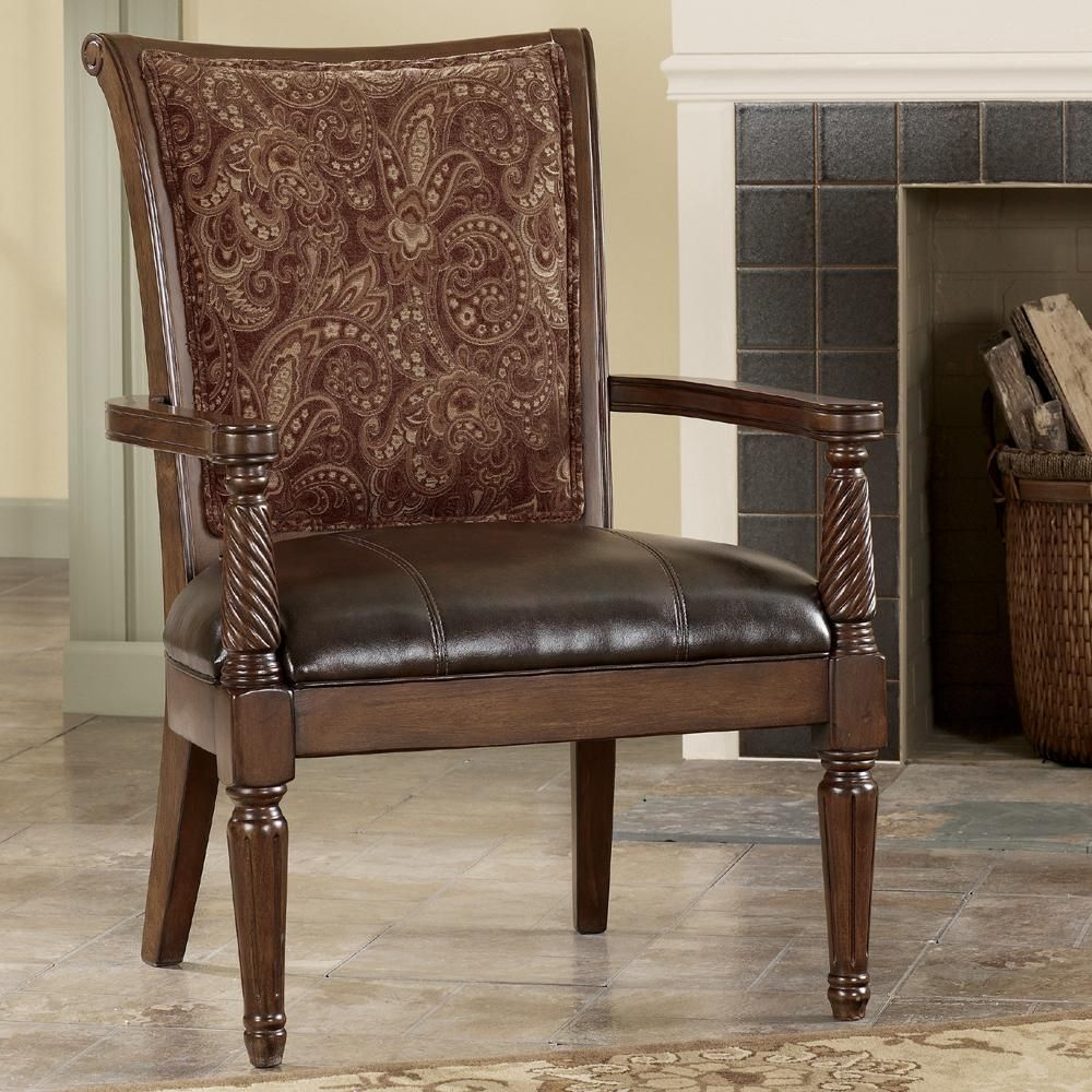 Barcelona Antique Showood Accent Chair By Signature Design By Ashley Chairs Pinterest