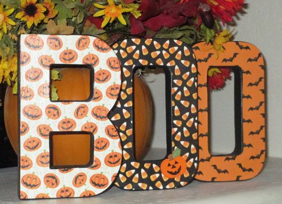 BOO in paper mache letters - Halloween Decoration Paper mache - halloween decorations and crafts