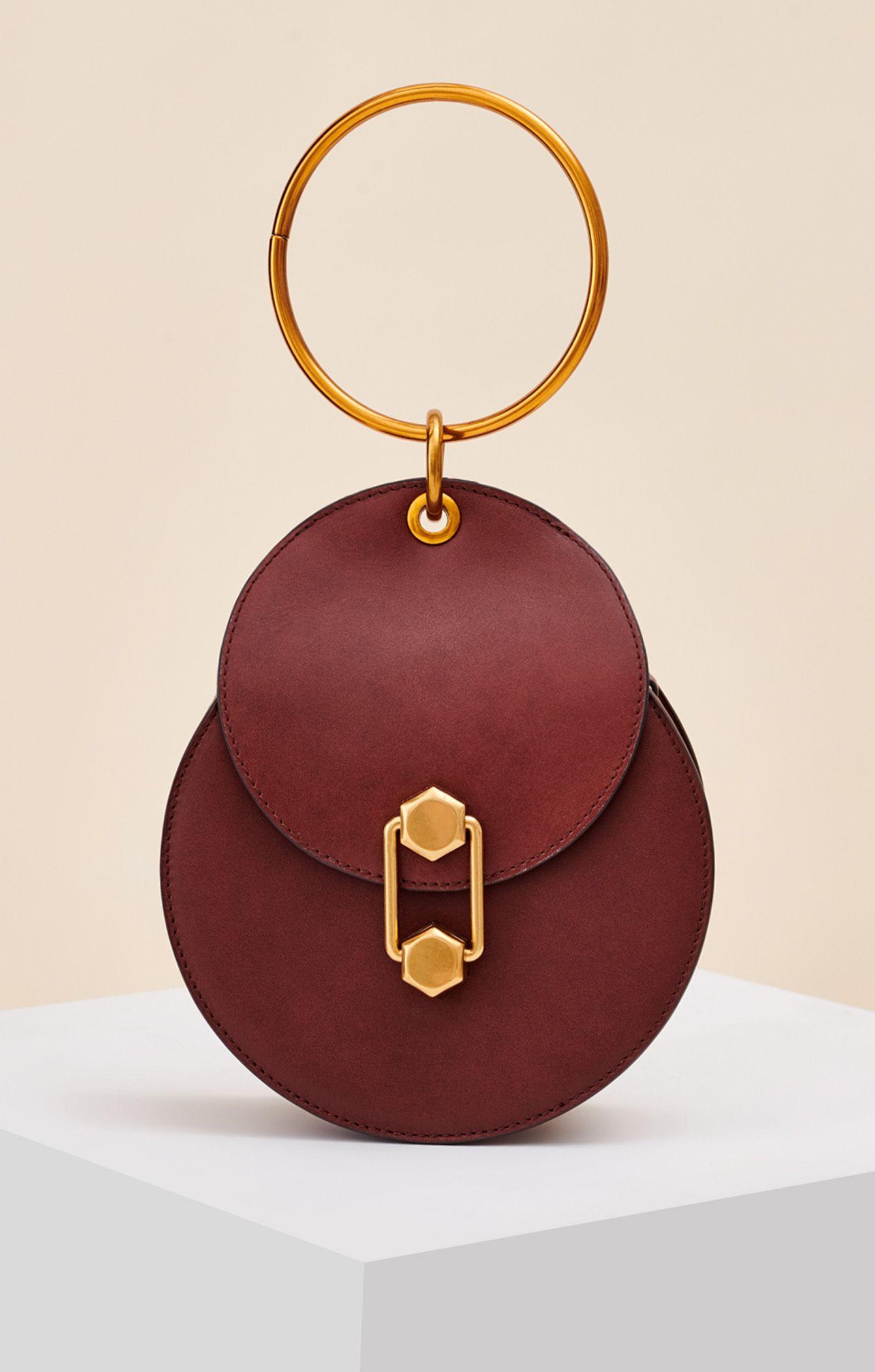 97892cab6 It bag круглой формы из 100% кожи с ручкой-браслетом Lera Nena, бордовый