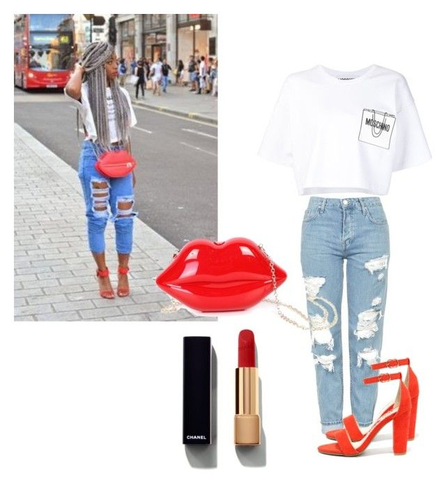 """❤️😘"" by mxd-chick ❤ liked on Polyvore featuring Topshop, Bamboo, Moschino, WithChic and Chanel"