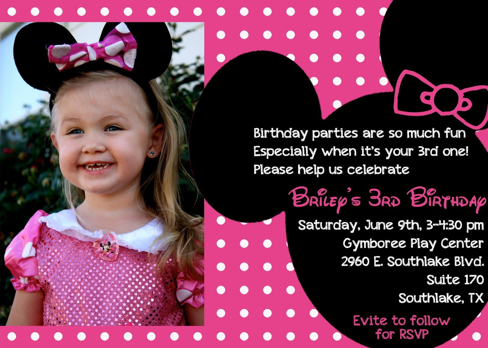 The Bufe Family Minnie Mouse 3rd Birthday Party Invite Idea