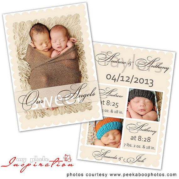 Baby Birth announcement template - Twins announcement - BA053 on - birth announcement template