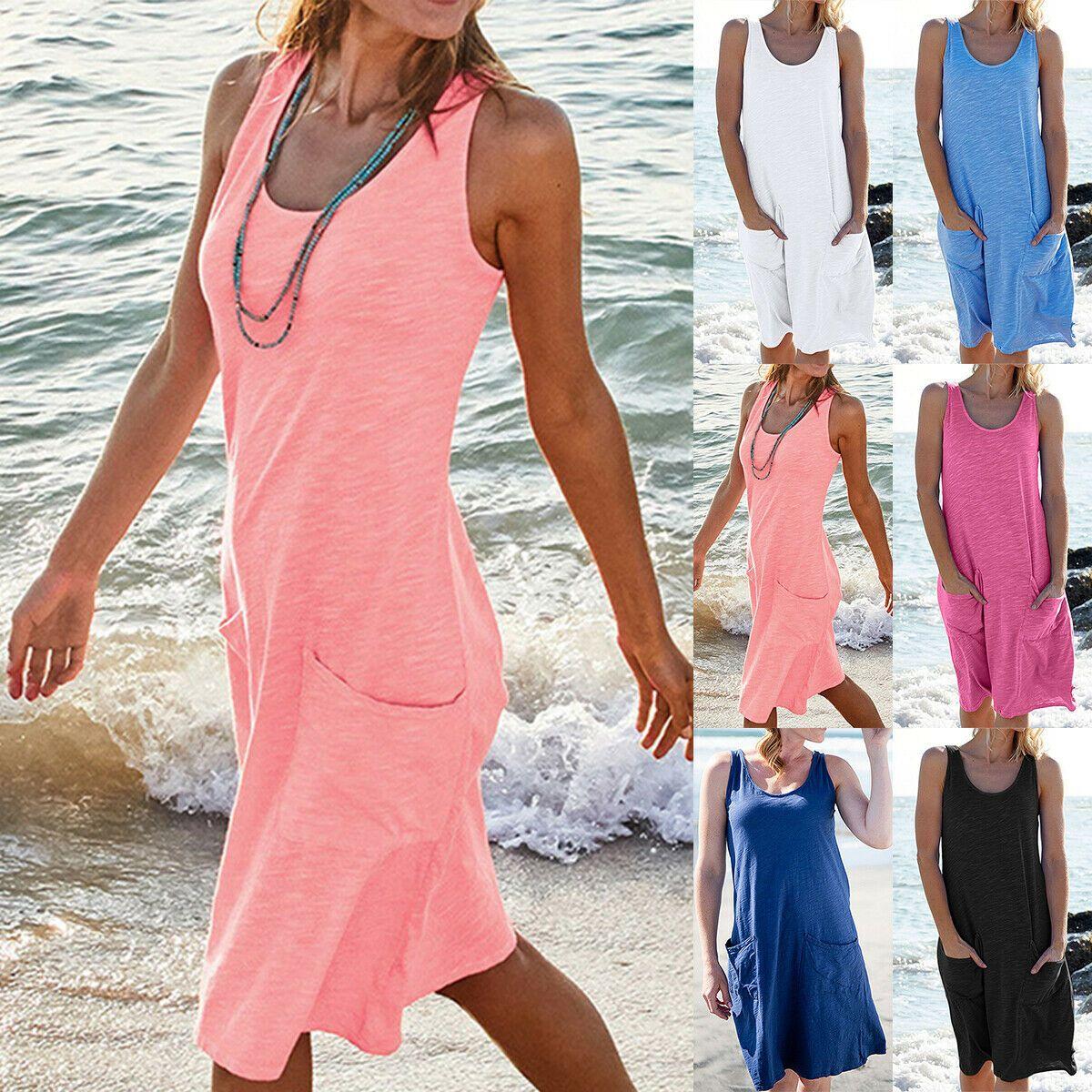 Übergröße Damen Langarm Tunika Minikleid Long Tops Sommer Strandkleid Shirtkleid