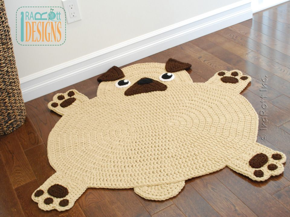 PDF Crochet Pattern For Making An Adorable Pug Puppy Dog Rug Or Nursery Mat