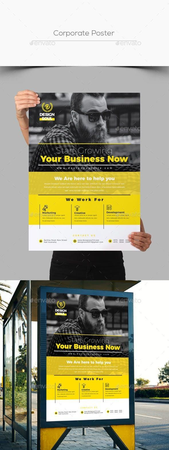 Corporate Poster #set #collection #ad #templates #PrintDesign