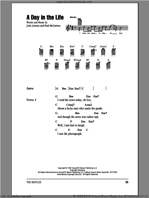 Beatles A Day In The Life Sheet Music For Ukulele Chords Ukulele Chords Songs Ukulele Chords The Beatles