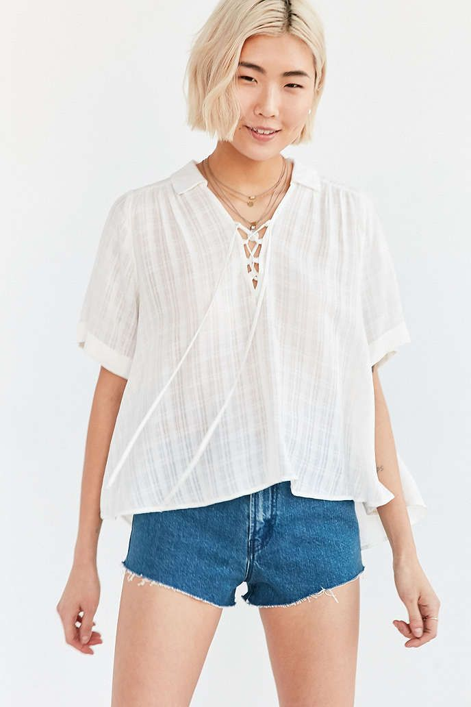 Ecote Lace-Up Blouse - Urban Outfitters  353c34585
