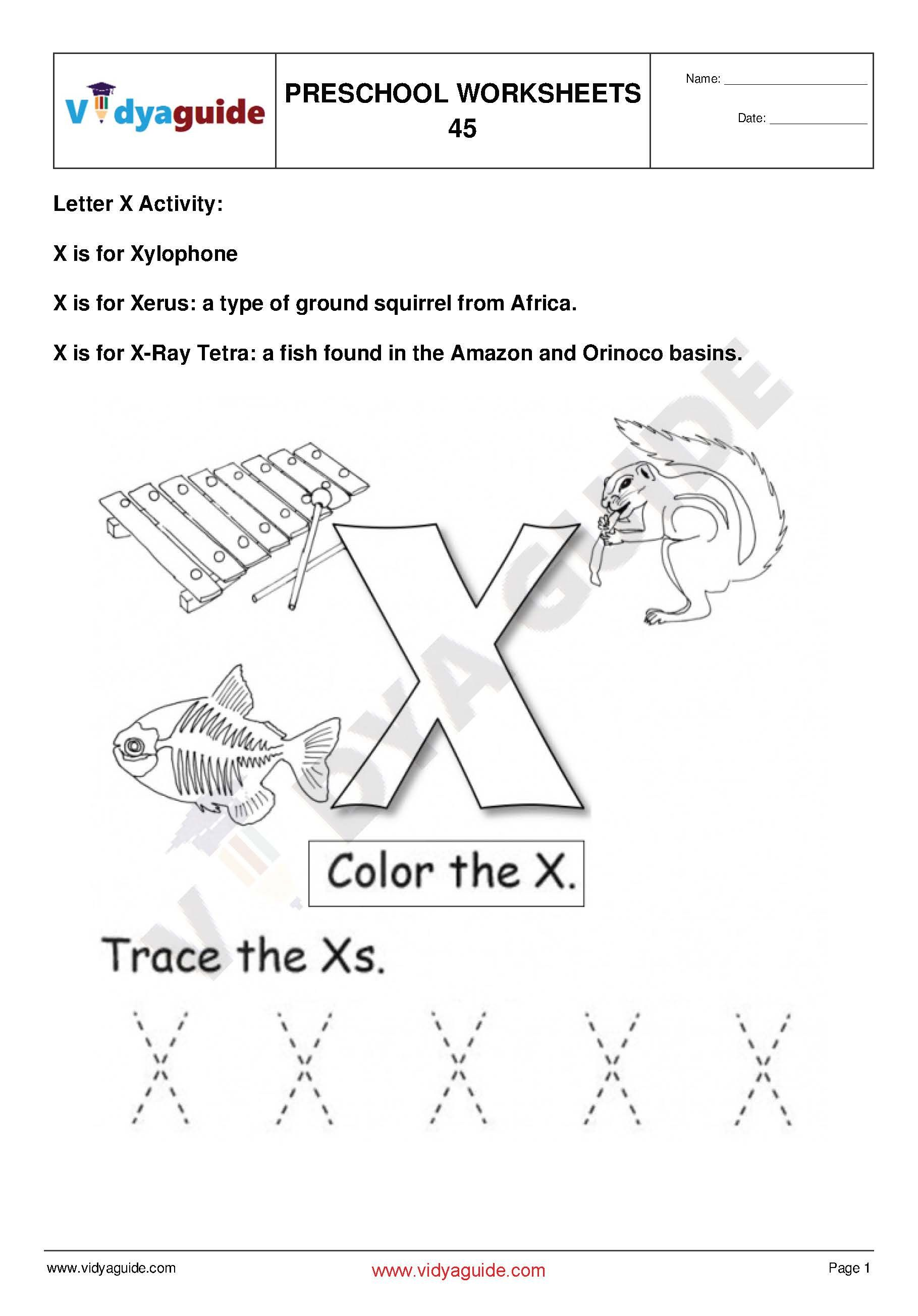 Preschool Worksheet Set 10. Download 5 PDF printable