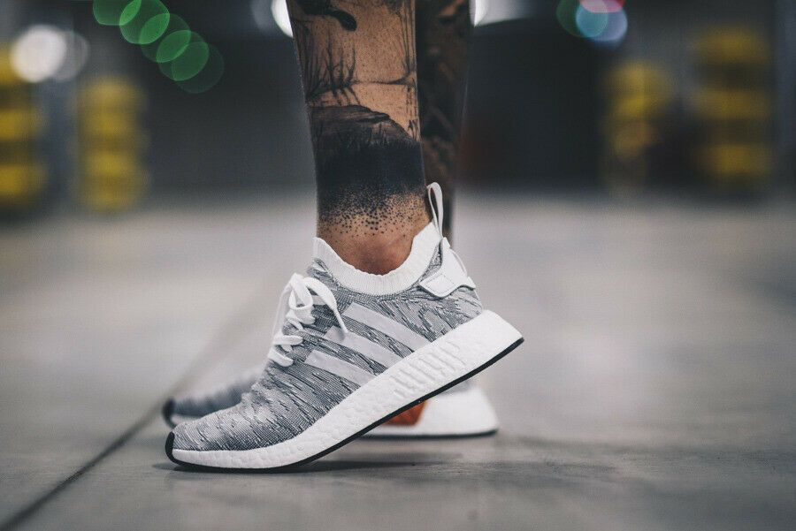 ADIDAS ORIGINALS NMD R2 PRIMEKNIT SNEAKERS IN WHITE BY9410