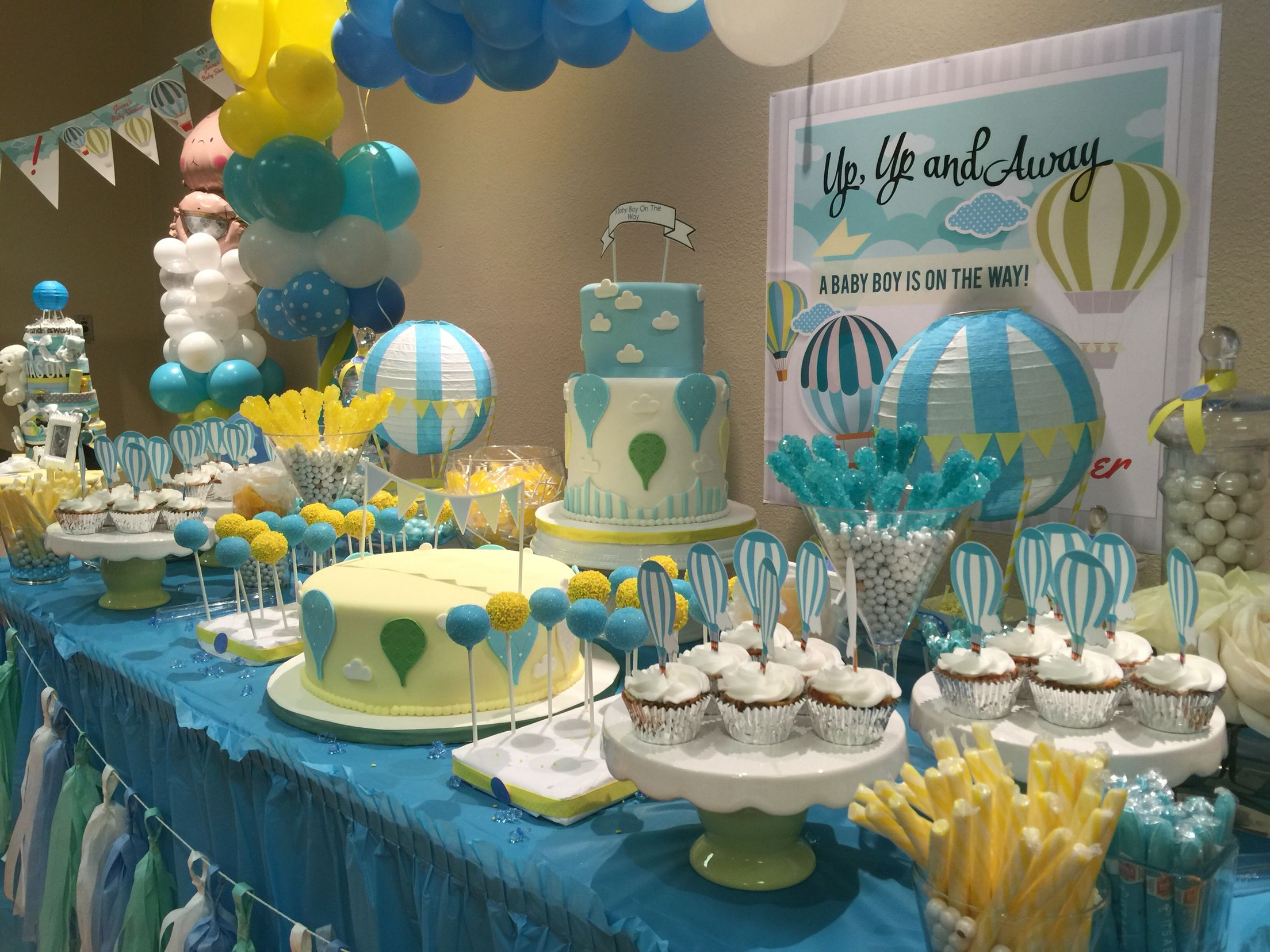 Amazing Baby Shower Desert/Candy Buffet Idea. Hot Air Balloon Theme For Boy.