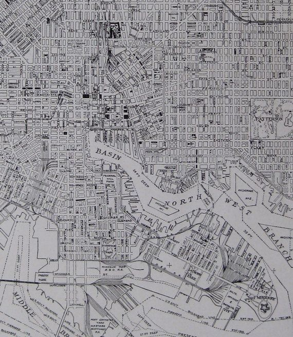 1926 Antique BALTIMORE Maryland Map Black and White Wall ...