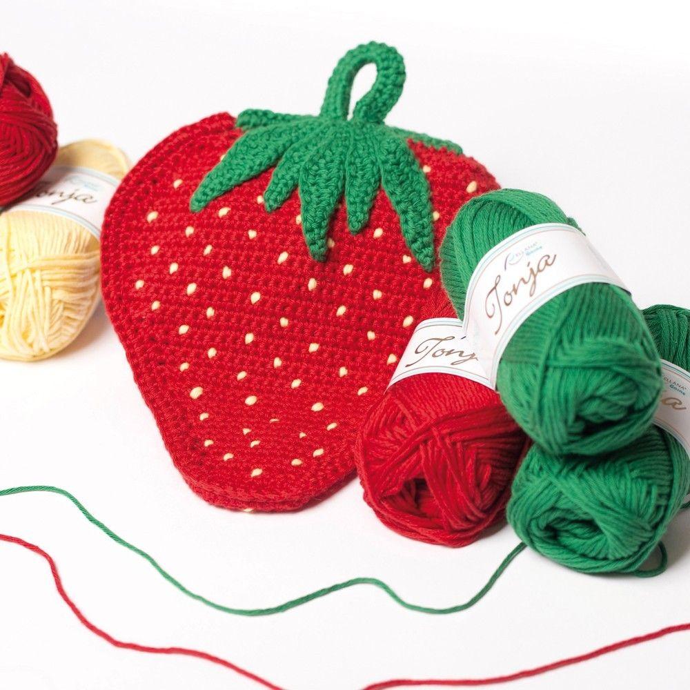 Erdbeer-Topflappen | Häkeleien | Crochet Potholders ...