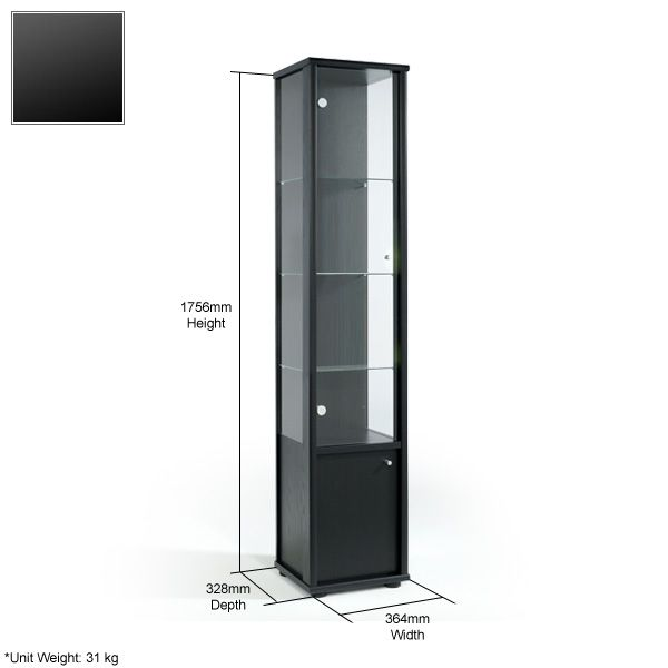 Glass Display Cabinet   Compartment   Black   Non Locking   364mm Wide    Display