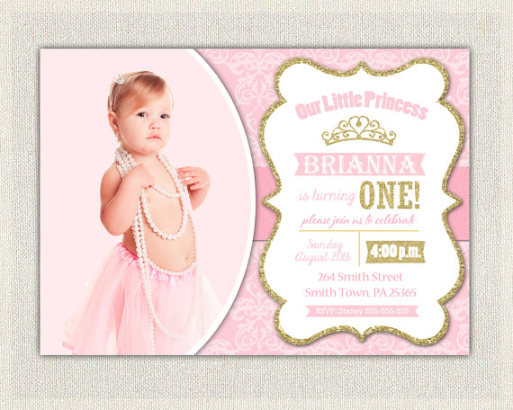 First Birthday Invitation Gold And Pink Princess Invitations Pink - Digital first birthday invitation