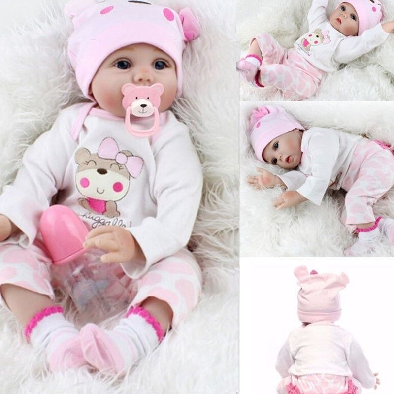 22/'/' Lifelike Reborn Baby Girl Dolls Full Body Silicone Handmade Cute Doll Gift