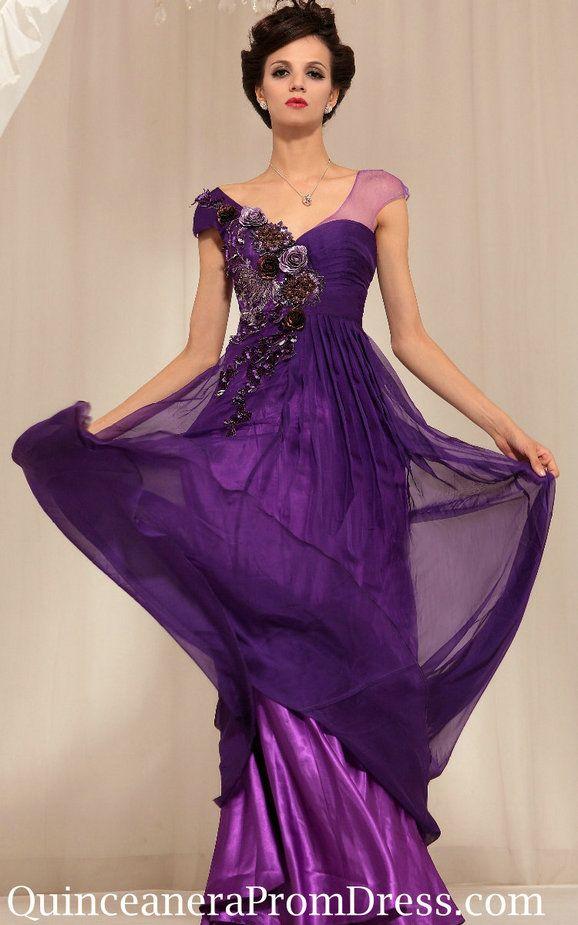 Gorgeous Floral Modest Evening Prom Dress 2013 Floor Length Patterns