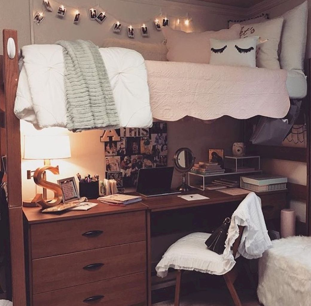 College loft bed ideas  Pin by Veronica Briceno on Dorm  Pinterest  Room decorating ideas