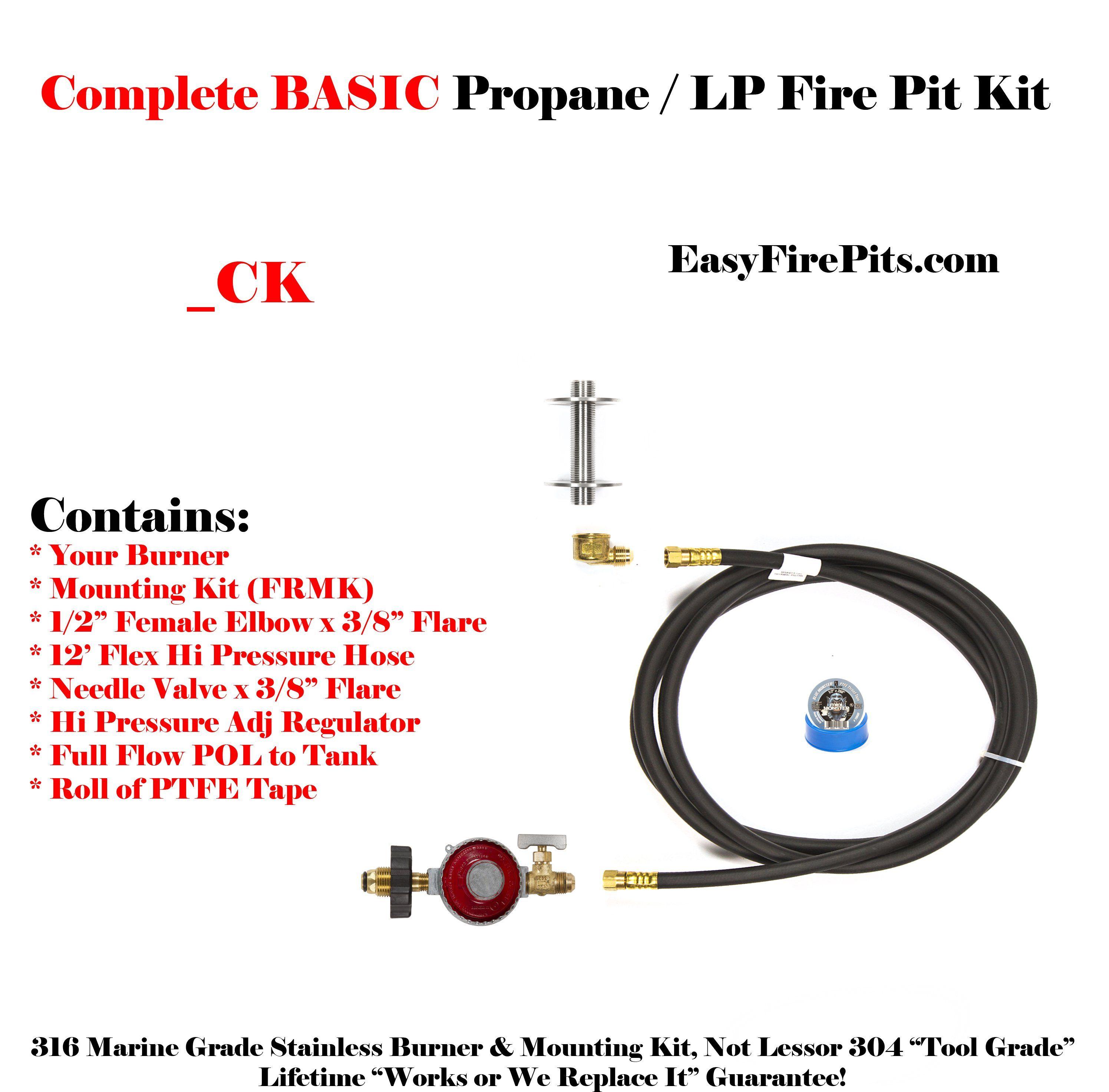 ck universal propane complete basic diy fire pit kit burner sold