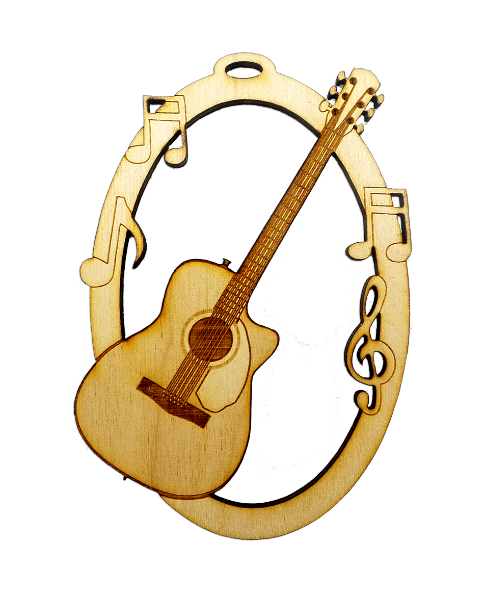 Personalized Acoustic Guitar Ornament Guitar Gifts Engraved Ornaments Christmas Ornaments Gifts