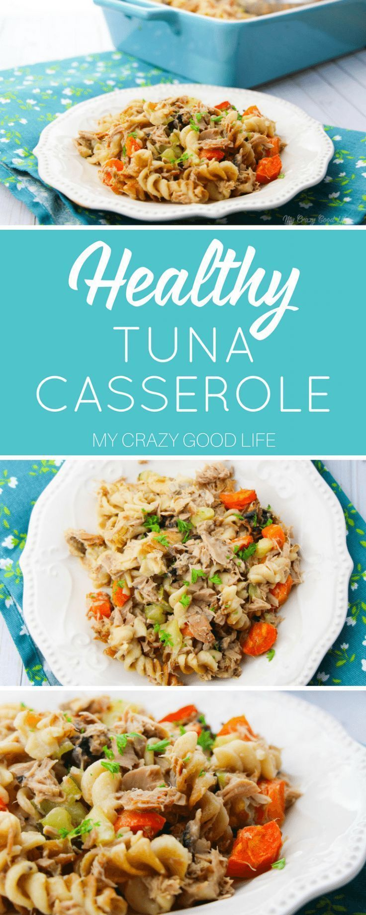 this healthy tuna casserole contains homemade cream of