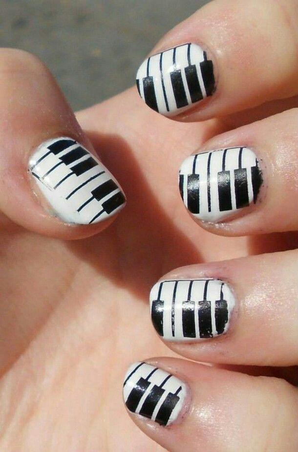 Piano Nail Art Black And White Piano Tiles Nails Pinterest