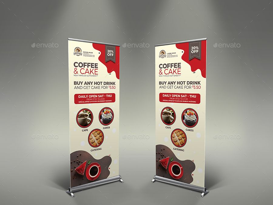 Coffee and Cake Signage Banner Roll Up Template #Affiliate #Signage, #affiliate,...