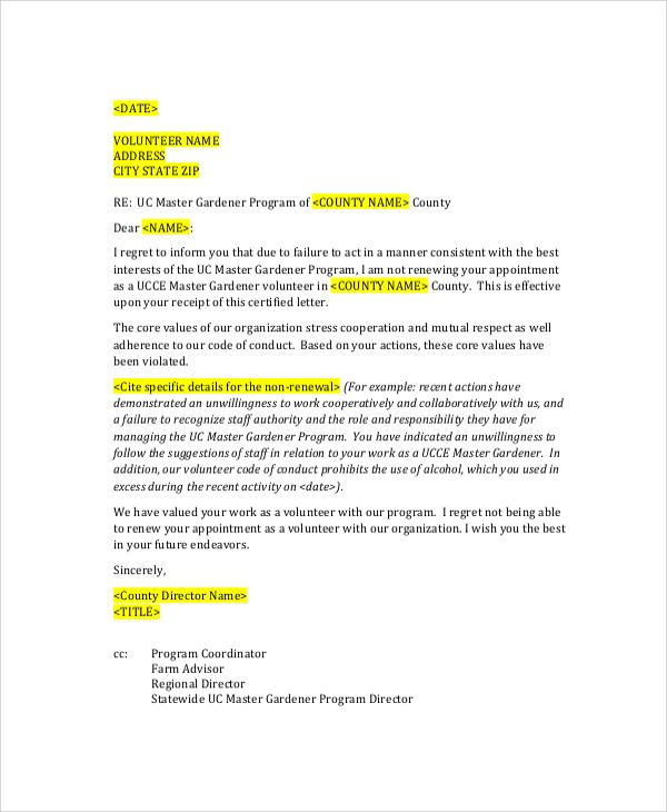 sample employee termination letter documents pdf word perfect - contract word