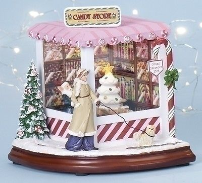 Figurines 117413 Christmas Candy Store Light Up Animated Music Box