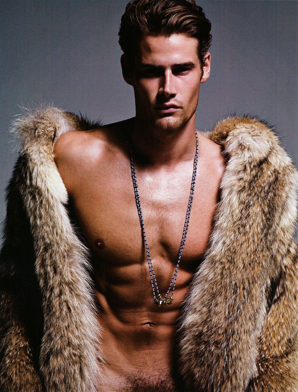 men naked with fur