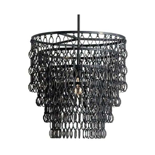 Currey And Company 9863 Fenwick 1 Light Pendant With Tiered Chain Link 990 Liked On P Industrial Hanging Lights Industrial Ceiling Lights Metal Chandelier