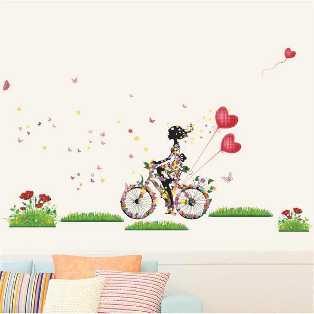 Bike stickers design discover - Removable Bicycle Flower Girl Wall Sticker Vinyl Mural Art Decal Diy Home Decors With Free Shipping Compare Best Price For China Products