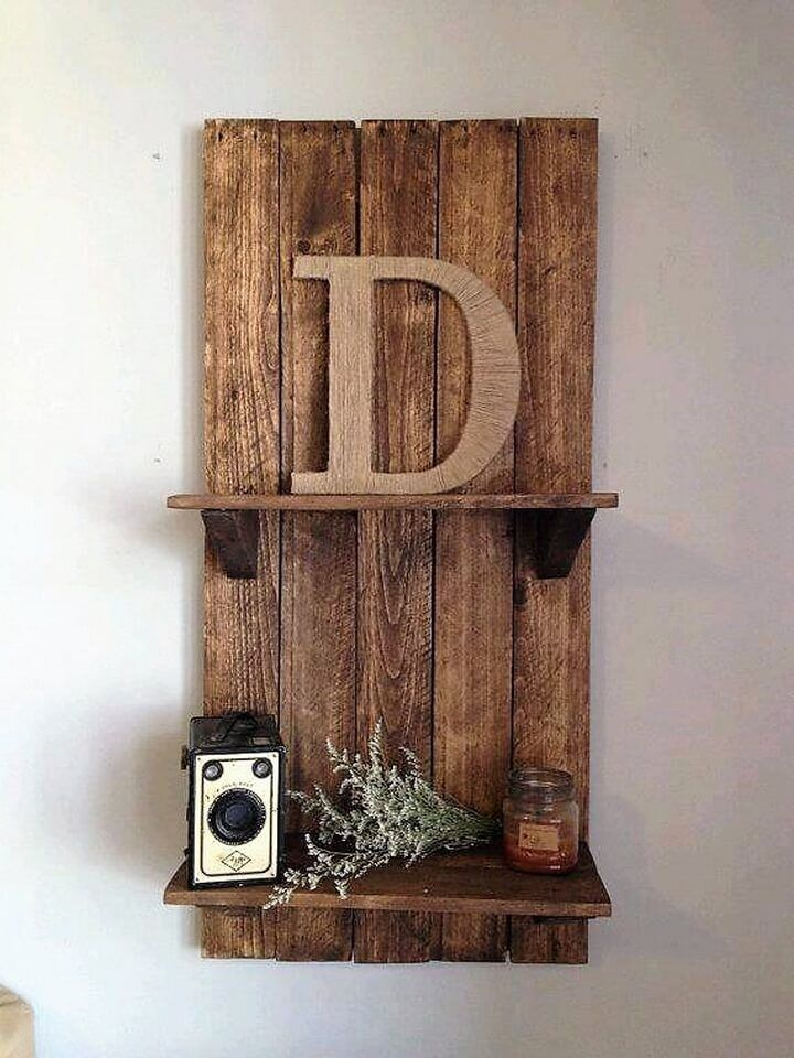 rustic wood pallet shelf