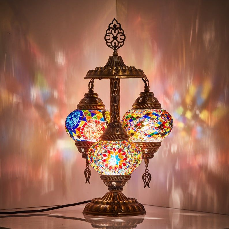10 Colors Stunning Turkish Moroccan Mosaic Lamp With 3 Etsy Bohemian Table Lamps Mosaic Lamp Turkish Mosaic Lamp