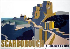 Scarborough Castle, Yorkshire. LNER Vintage Travel Poster by Frank Newbould. 1934