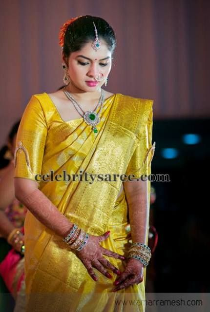 Neon Green Gold Silk Saree   Saree blouse patterns, Blouse ...