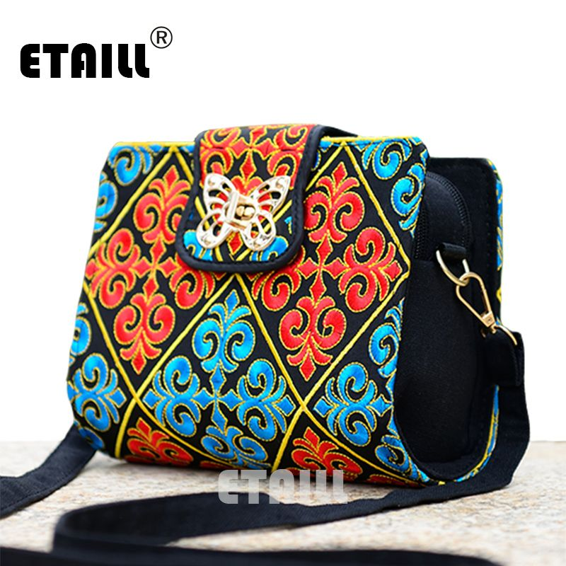 Double Side Chinese Ethnic Embroidery Bags Hmong Thai Indian Boho  Embroidered Famous Brand Messenger Bag Crossbody Shoulder Bag f2d974943bc69