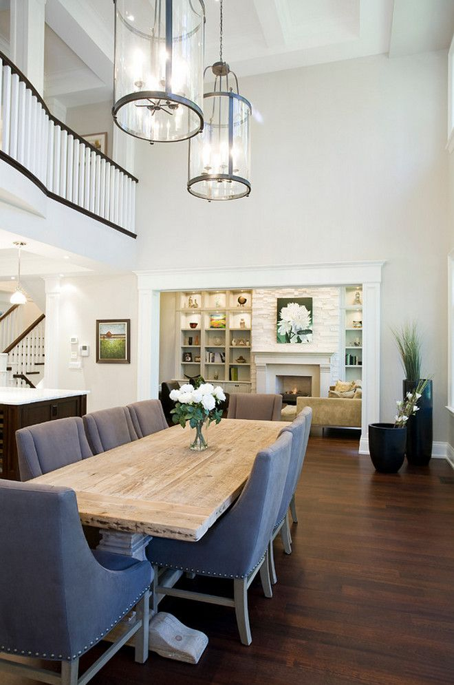 23 Dining Room Ceiling Designs Decorating Ideas: Traditional Dining Room With A Long Wooden Dining Table, Gray Chairs, Stained Hardwood