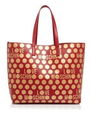 f15ec0765f2 LOVE MOSCHINO Reversible Polka Dot Tote. #lovemoschino #bags #hand bags  #pvc #tote #