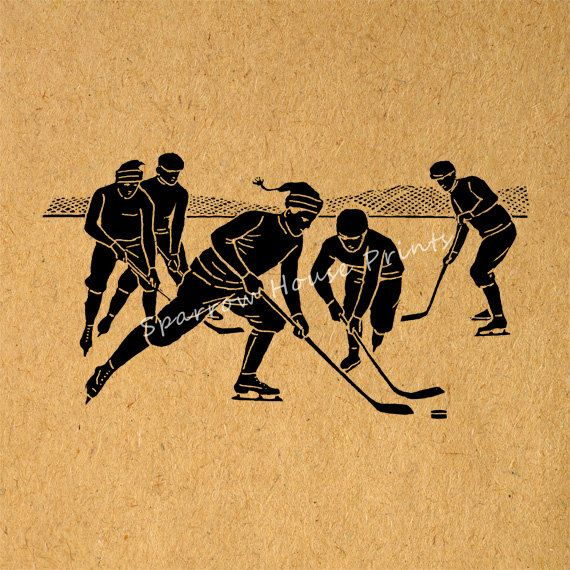 Antique Hockey Players Vintage Artwork Silhouette Sports Wall Art ...