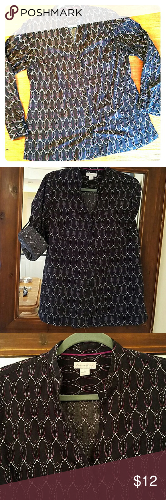 Charter Club Button Front Blouse 100% cotton, button front blouse. Long sleeves with option to roll and button to make mid sleeve. Navy with white and purple print. Very versatile, work wear or casual. Charter Club Tops Button Down Shirts