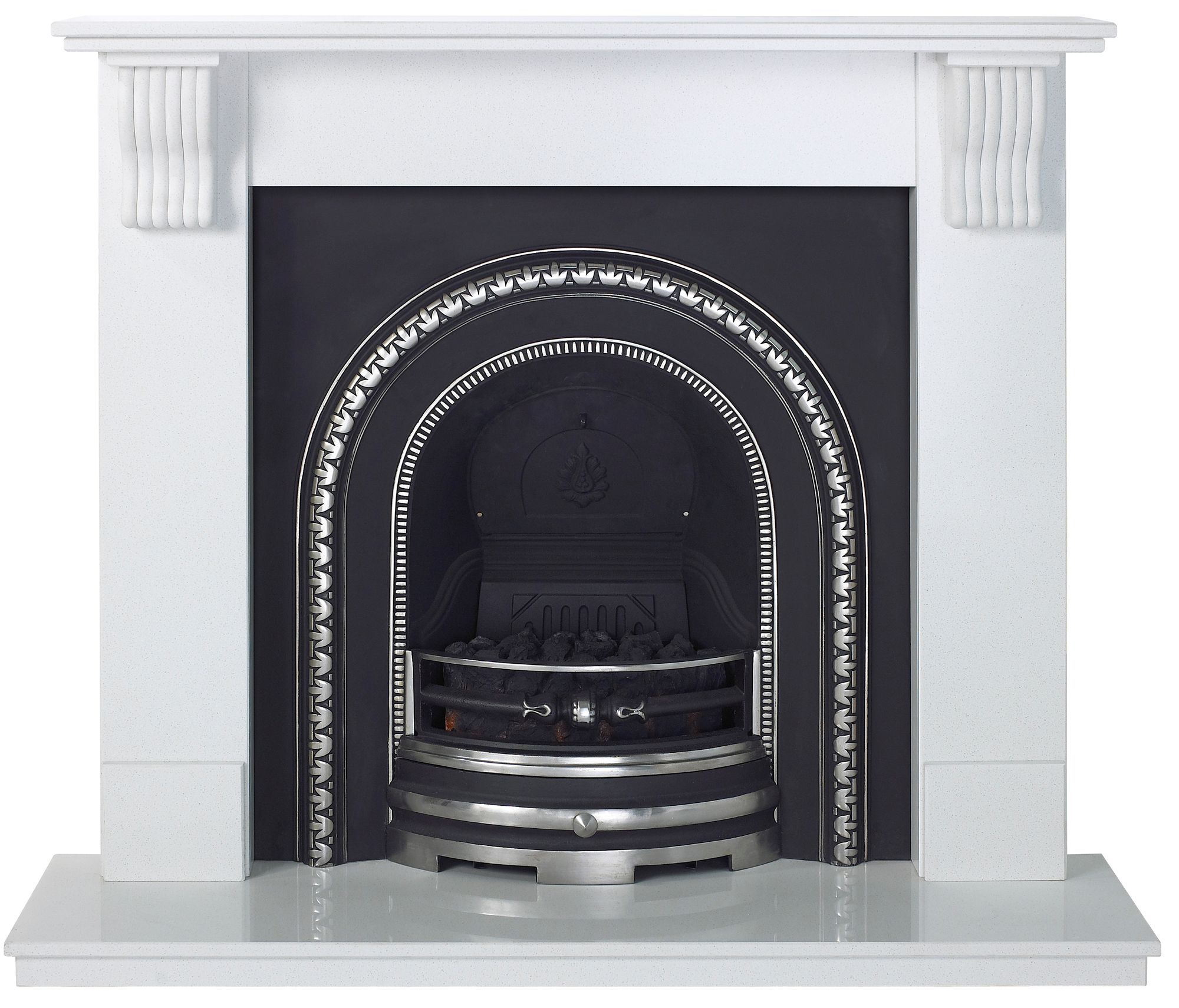 Victoria Sparkly White Micro Marble Fire Surround Set Departments Diy At B Q Electric Fireplace Suites Fireplace Suites Black Electric Fireplace