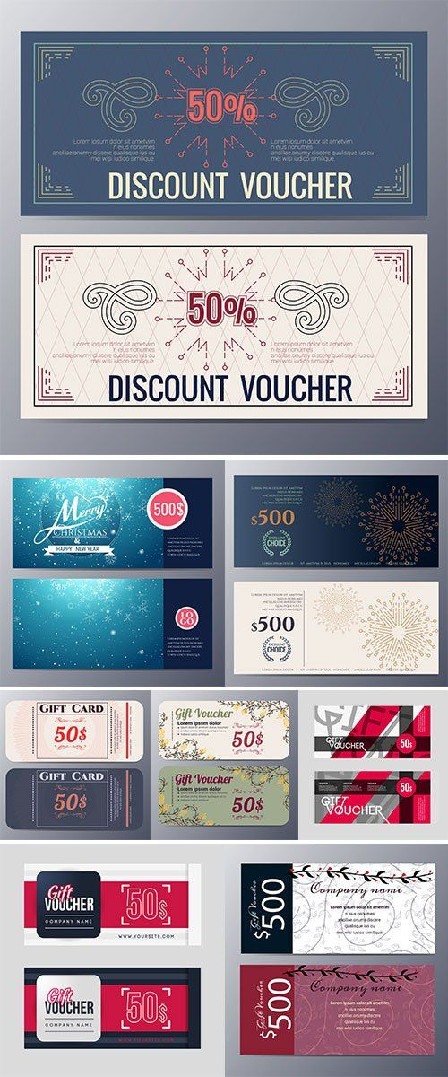Gift voucher template design - Stock vectors Template, Gift and