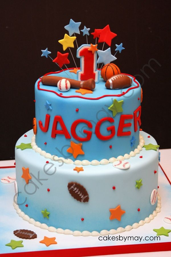 sports cakes for birthdays 1st Birthday Sports Fan Cake