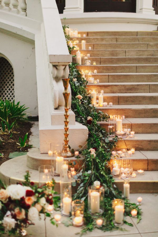 Candle And Garland On Staircase Staircases Garlands And